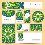 Stationery template design with green mandalas. Royalty Free Stock Image