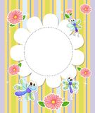 A stationery template with flowers and butterflies Royalty Free Stock Photography