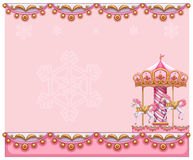 A stationery template with a merry-go-round ride. Illustration of a stationery template with a merry-go-round ride on a white background Royalty Free Stock Photography