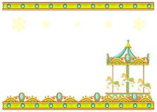 A stationery template with a merry-go-round ride Royalty Free Stock Images
