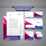 Stationery Template Polygonal. Complete set of business stationery templates such as letterhead, envelope, business card, etc with colourful and impressive brand Royalty Free Stock Photography