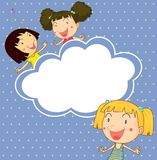 A stationery with three playful young girls Royalty Free Stock Image