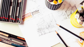 Stationery tool element and sketching interior desig Royalty Free Stock Photos