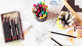 Stationery tool element and sketching interior desig Stock Photos