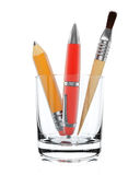Stationery tools in glass Royalty Free Stock Photo