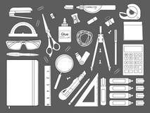 Stationery tools. Line art. Stationery tools. Education items. Vector line art illustrations Stock Image