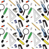 Stationery tools pattern. Color. Stationery tools seamless vector pattern. Color Stock Images