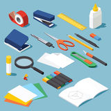 Stationery and tools set. Isometric office stationery set. Collection includes adhesive tape, stapler, ruler, tube glue, hole puncher, dividers, scissors, pen Royalty Free Stock Photo