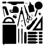 Stationery tools silhouettes set Stock Photos