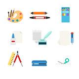 Stationery tools web app flat vector icon: art paint palette. Flat style modern stationery tools web app concept icon set. Art paint palette marker pencil paper Stock Images