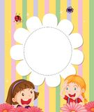 A stationery with two girls at the garden Stock Image