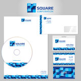 Stationery vector template with blue geometric elements and square logo Royalty Free Stock Images