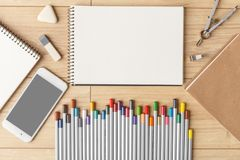 Stationery. View from above. Template for design stock photos