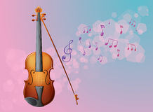 A stationery with a violin and musical notes Royalty Free Stock Photos