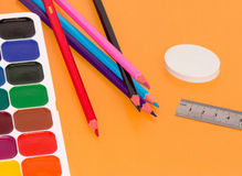 Stationery. On a white background in the range Royalty Free Stock Images