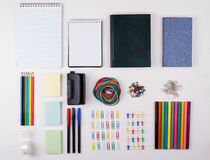 Stationery on a white table the Royalty Free Stock Photography
