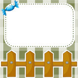 A stationery with a wooden fence and a candy Stock Photos