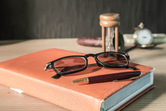 Stationery on wooden Stock Photo