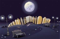 Stationnement avec l'arc-en-ciel la nuit. Images stock