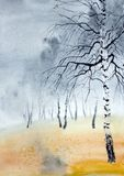 Stationnement brumeux d'automne illustration libre de droits