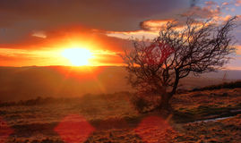 Stationnement-Coucher du soleil de pays de Waun Y Llyn Photo libre de droits