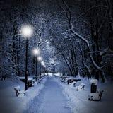 Stationnement couvert de neige la nuit Photo stock