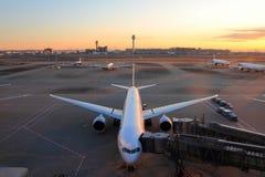 Stationnement d'avion à l'aéroport international de Tokyo Photo libre de droits