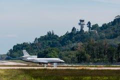 Stationnement d'avion privé à l'aéroport de phuket Photographie stock