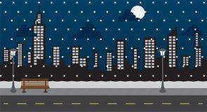 Stationnement de chute de neige de nuit Images stock