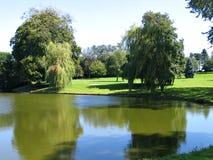 Stationnement de jardin avec un lac Image stock