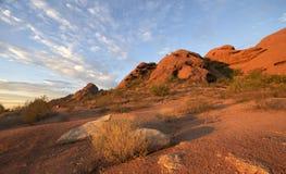 Stationnement de Papago, butte rouge de roche à Phoenix, AZ Photos stock