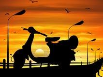 Stationnement de scooter sur le chemin au crépuscule avec l'industrie graphique de vecteur illustration de vecteur