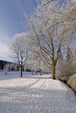 Stationnement de station thermale en hiver Photos stock