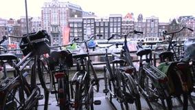 Stationnement de v?lo d'Amsterdam clips vidéos
