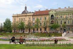 Stationnement de ville à Zagreb photographie stock libre de droits