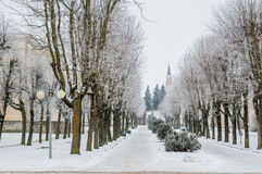 Stationnement de ville en hiver image libre de droits