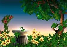 Stationnement et fleurs Photographie stock