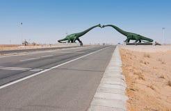 Stationnement géologique de dinosaure dans heu la ville de Lian images libres de droits