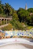 Stationnement Guell de Barcelone du modernisme de Gaudi images libres de droits