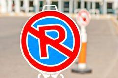 Stationnement interdit de signe près de l'aéroport Images libres de droits