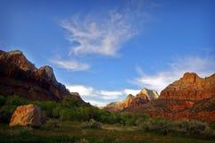 Stationnement national de Zion au coucher du soleil, Utah Photographie stock libre de droits
