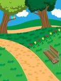 Stationnement paisible avec un banc et des arbres Images stock