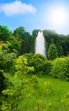 Stationnement vert de la nature avec une fontaine Photographie stock libre de droits