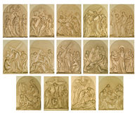 The stations of the cross. The fourteen stations of the cross Stock Images