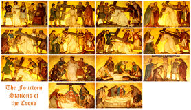 The stations of the Cross. The fourteen stations of the cross stock image