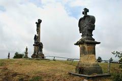 Stations de la croix sur la colline près du village de Ruda, Morava Images stock