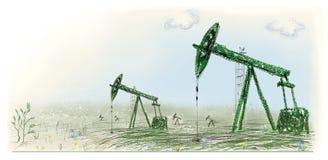 Stations de pompage d'huile, production de pétrole illustration stock