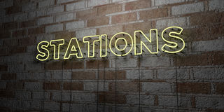 STATIONS - Glowing Neon Sign on stonework wall - 3D rendered royalty free stock illustration Stock Photography