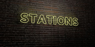 STATIONS -Realistic Neon Sign on Brick Wall background - 3D rendered royalty free stock image Stock Photo