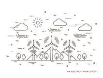 Stations-Vektorillustration der linearen Luft elektrische lizenzfreie abbildung